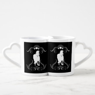 White horse with floral elements lovers mugs