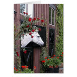 White Horse with Roses Greeting Card