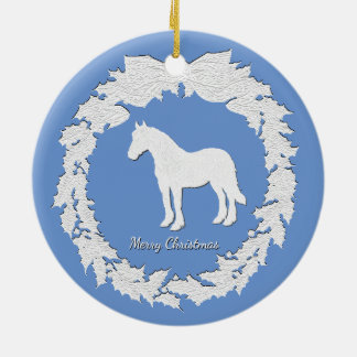 White Horse Wreath Personalize Color Text Christmas Ornament