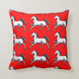White Horses Red Throw Pillow