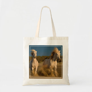 White Horses Running On Beach | Camargue, France Tote Bag