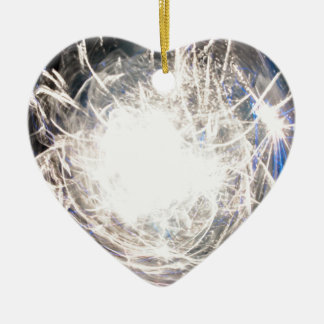 White hot ceramic heart decoration