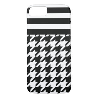 White Houndstooth w/ Stripes 2 iPhone 7 Case