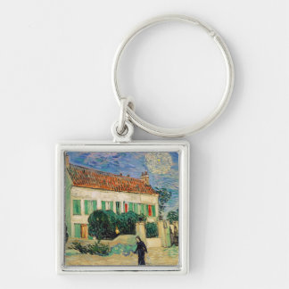 White House at Night, 1890 Silver-Colored Square Key Ring