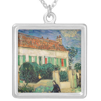 White House at Night - Van Gogh (1890) Square Pendant Necklace