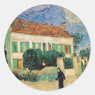 White house at night - Vincent van Gogh Classic Round Sticker
