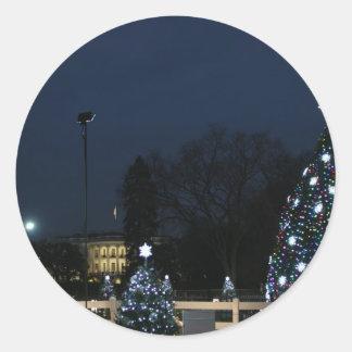 White House celebrates Christmas Round Sticker