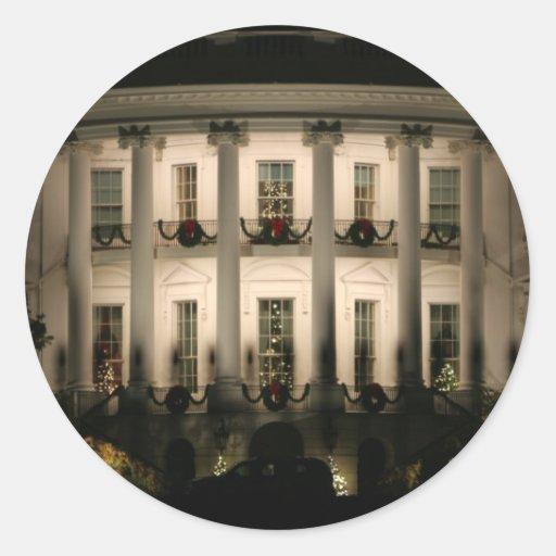 White House celebrates Christmas Round Stickers