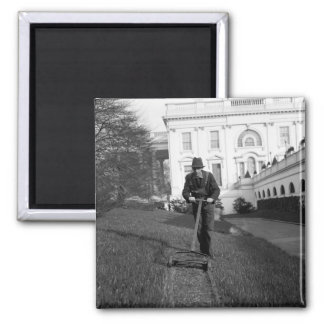 White House, green lawn, 1930s Square Magnet
