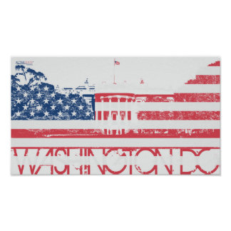 White House - Washington DC - United States Flag Poster