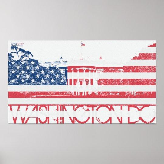 White House - Washington DC - United States Flag Poster