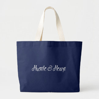 White Hustle and Heart Typography Large Tote Bag