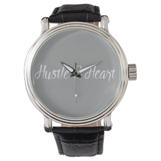 White Hustle and Heart Typography Watch