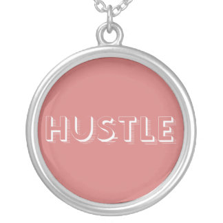 White Hustle Modern Typography Silver Plated Necklace