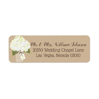 White Hydrangea Bouquet Label