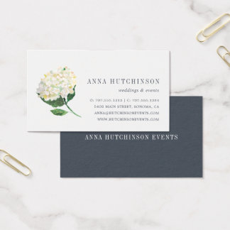 White Hydrangea Business Card