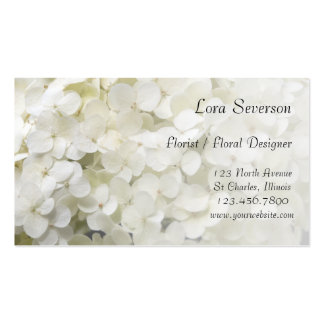 White Hydrangea Business Cards