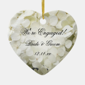 White Hydrangea Engagement Heart Ornament