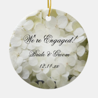 White Hydrangea Engagement Photo Christmas Ornament