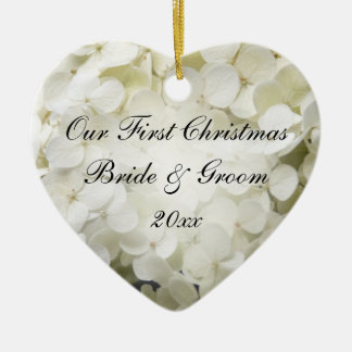 White Hydrangea First Christmas Together Christmas Ornament