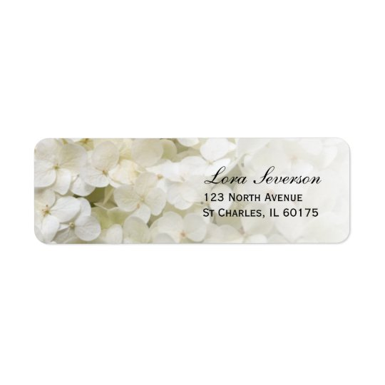 White Hydrangea Floral Return Address