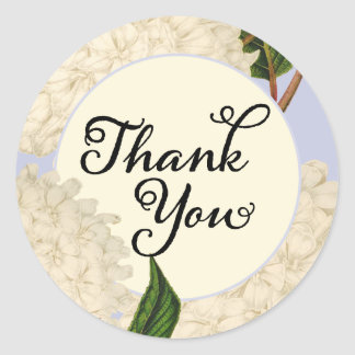 White Hydrangea Floral Thank You Stickers