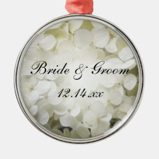 White Hydrangea Floral Wedding Christmas Ornament