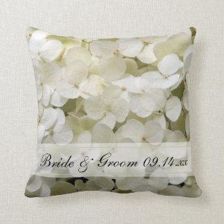 White Hydrangea Floral Wedding Cushion