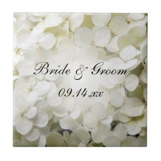 White Hydrangea Floral Wedding Tile
