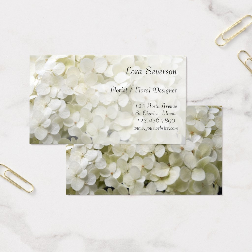 White Hydrangea Florist Business Cards