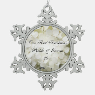 White Hydrangea Flower First Christmas Wedding Snowflake Pewter Christmas Ornament