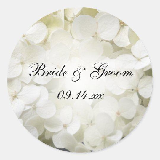 White Hydrangea Flower Wedding Envelope Seal Round Sticker
