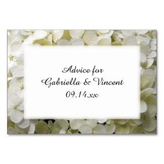 White Hydrangea Flowers Wedding Advice Cards