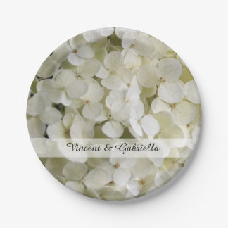 White Hydrangea Flowers Wedding Paper Plate