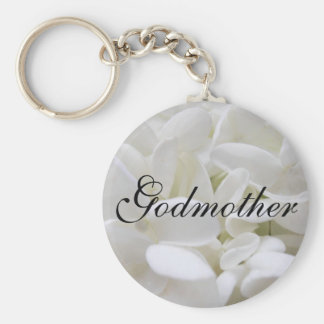 "White Hydrangea ""Godmother"" keyring Basic Round Button Key Ring"