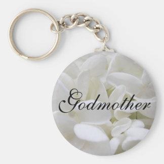 """White Hydrangea """"Godmother"""" keyring Keychains"""
