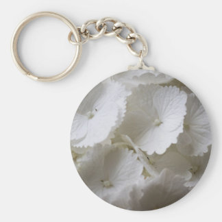 white hydrangea key ring