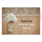 white hydrangea mason jar wedding thank you card