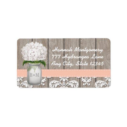 White Hydrangea Monogrammed Mason Jar in Peach Address Label