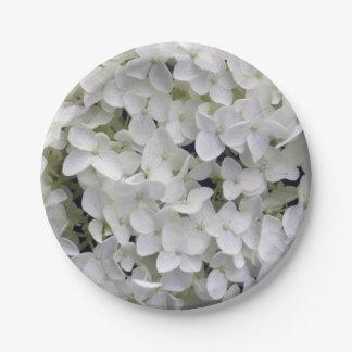 White Hydrangea Paper Plate
