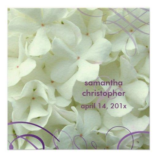 White hydrangea/romantic wedding invitations