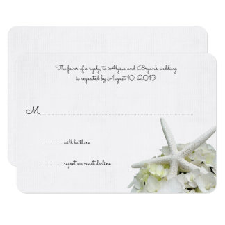 White Hydrangea Starfish Wedding Reply Cards
