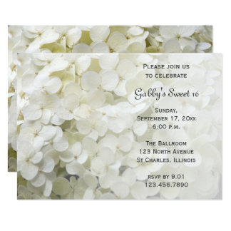 White Hydrangea Sweet 16 Birthday Party Invitation