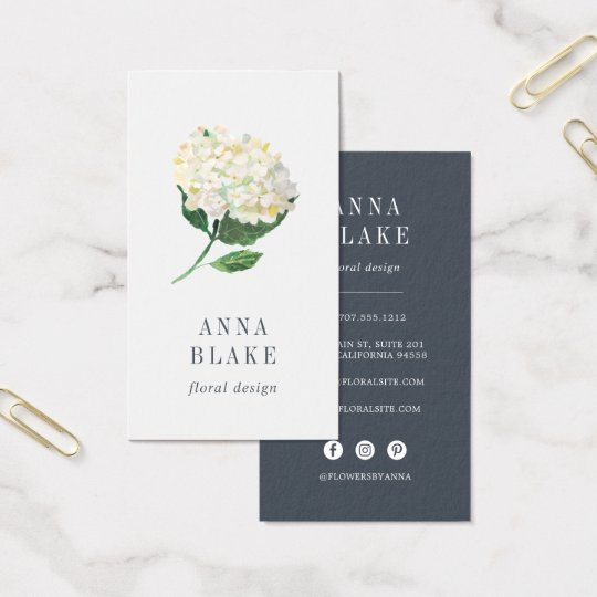 White Hydrangea Vertical Business Card