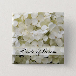 White Hydrangea Wedding 15 Cm Square Badge