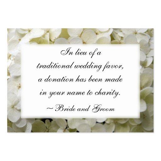 White Hydrangea Wedding Charity Card Business Card Template