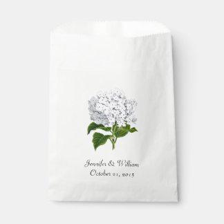 White Hydrangea Wedding Favor Bag
