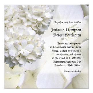 White Hydrangea Wedding Invitation Square Personalized Invitation