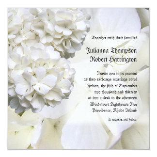 White Hydrangea Wedding Invitation, Square Personalized Invitation