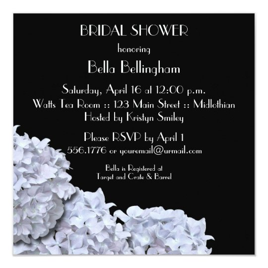 White Hydrangeas Bridal Shower Invitation